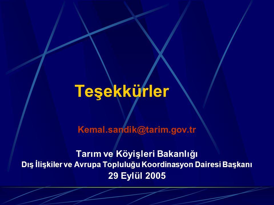 Teşekkürler Kemal.sandik@tarim.gov.tr Tarım ve Köyişleri Bakanlığı