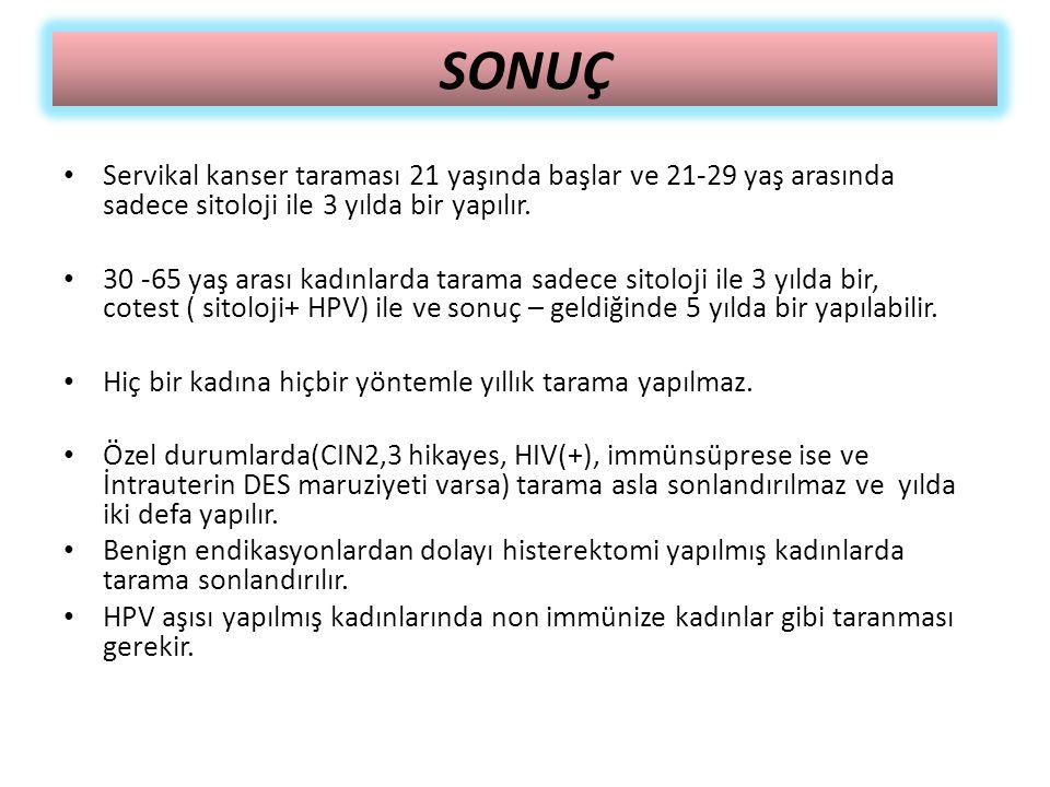 SONUÇ Servikal kanser taraması 21 yaşında başlar ve 21-29 yaş arasında sadece sitoloji ile 3 yılda bir yapılır.