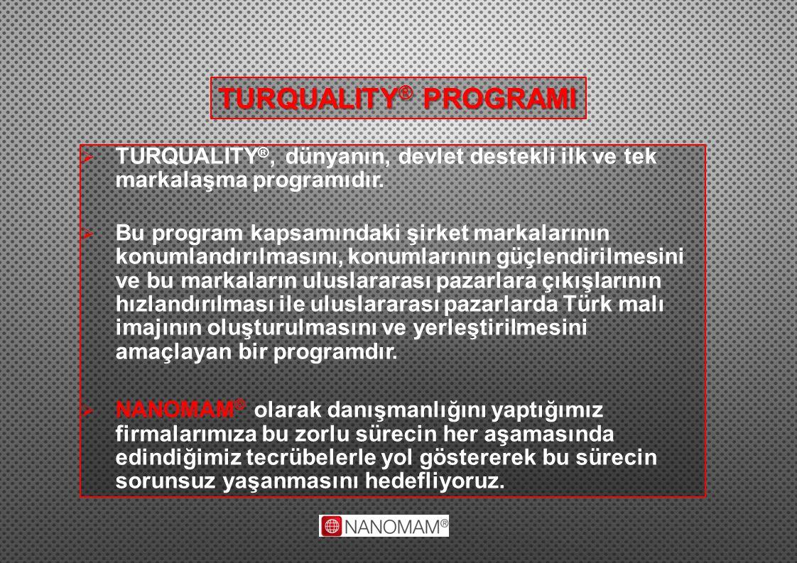 TURQUALITY® PROGRAMI TURQUALITY®, dünyanın, devlet destekli ilk ve tek markalaşma programıdır.