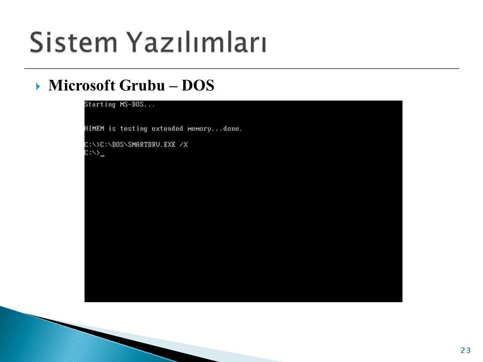 Sistem Yazılımları Microsoft Grubu – DOS