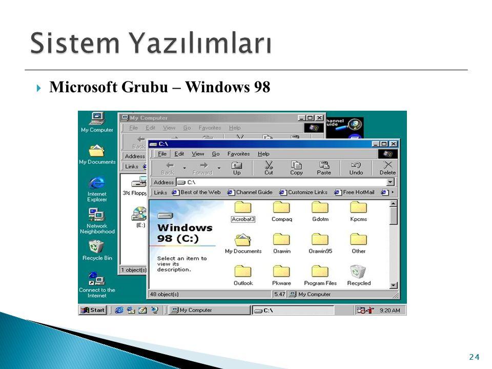Sistem Yazılımları Microsoft Grubu – Windows 98