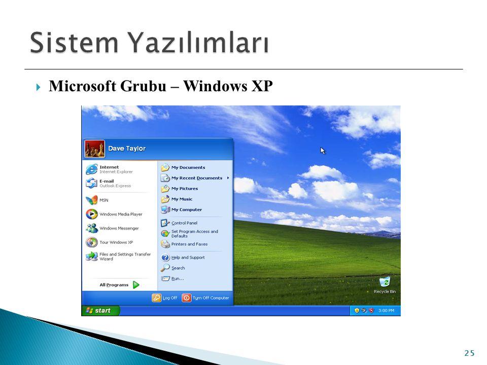 Sistem Yazılımları Microsoft Grubu – Windows XP