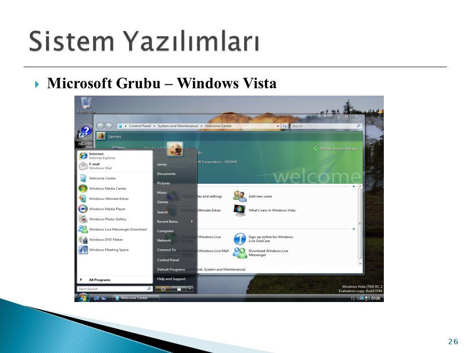 Sistem Yazılımları Microsoft Grubu – Windows Vista