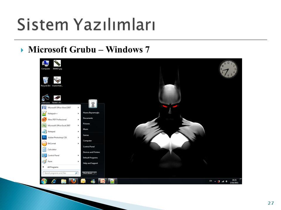 Sistem Yazılımları Microsoft Grubu – Windows 7