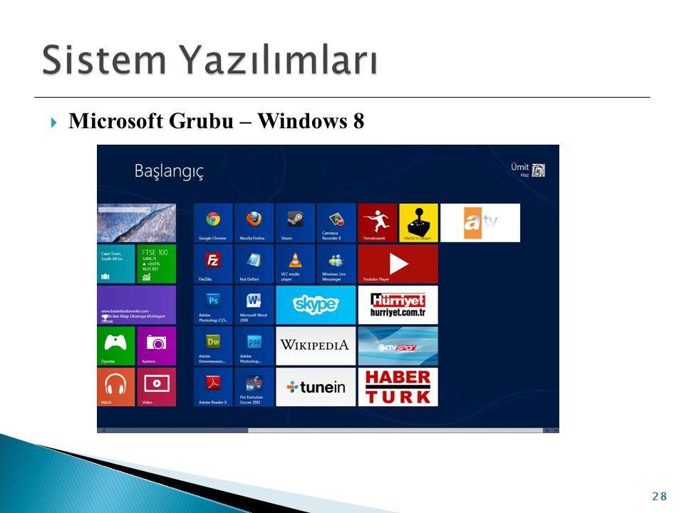Sistem Yazılımları Microsoft Grubu – Windows 8