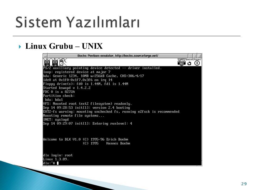 Sistem Yazılımları Linux Grubu – UNIX