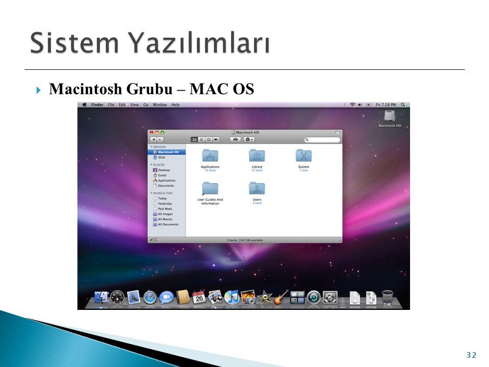 Sistem Yazılımları Macintosh Grubu – MAC OS