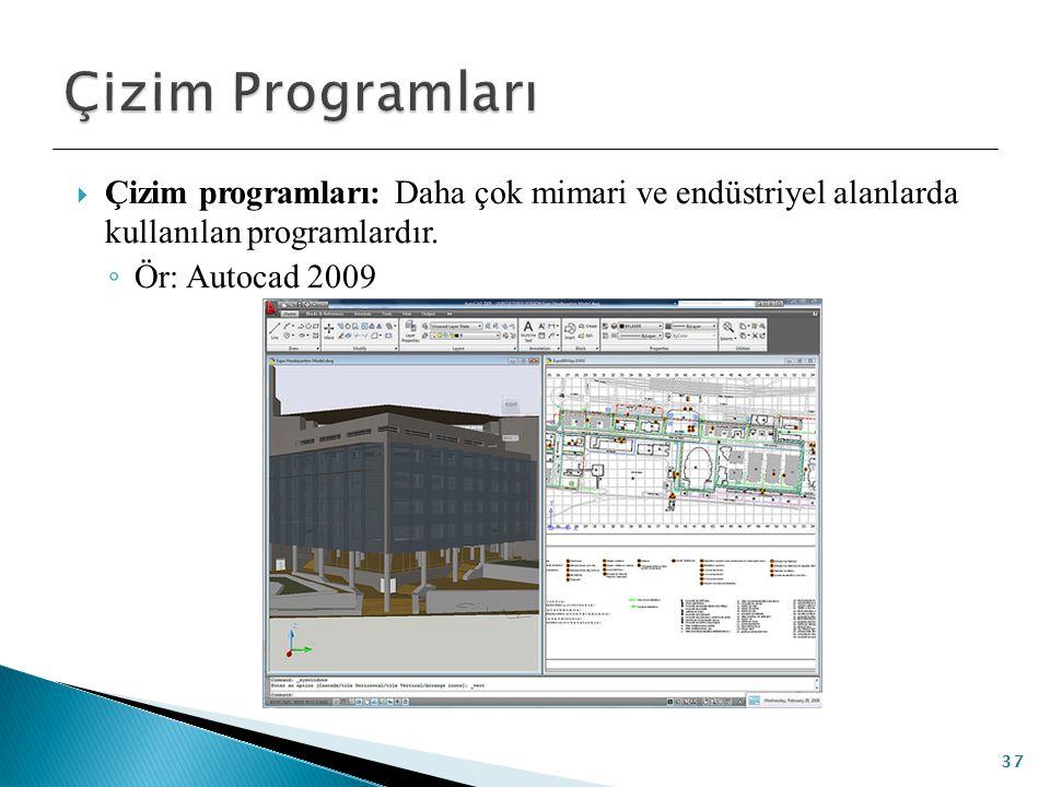 Çizim Programları Çizim programları: Daha çok mimari ve endüstriyel alanlarda kullanılan programlardır.