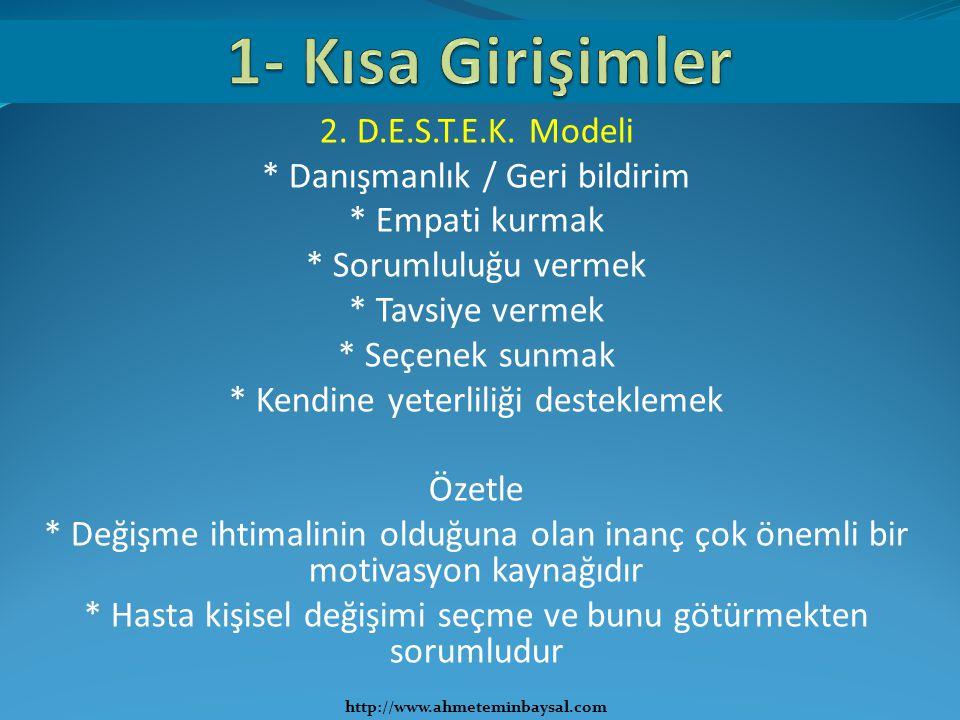 1- Kısa Girişimler 2. D.E.S.T.E.K. Modeli