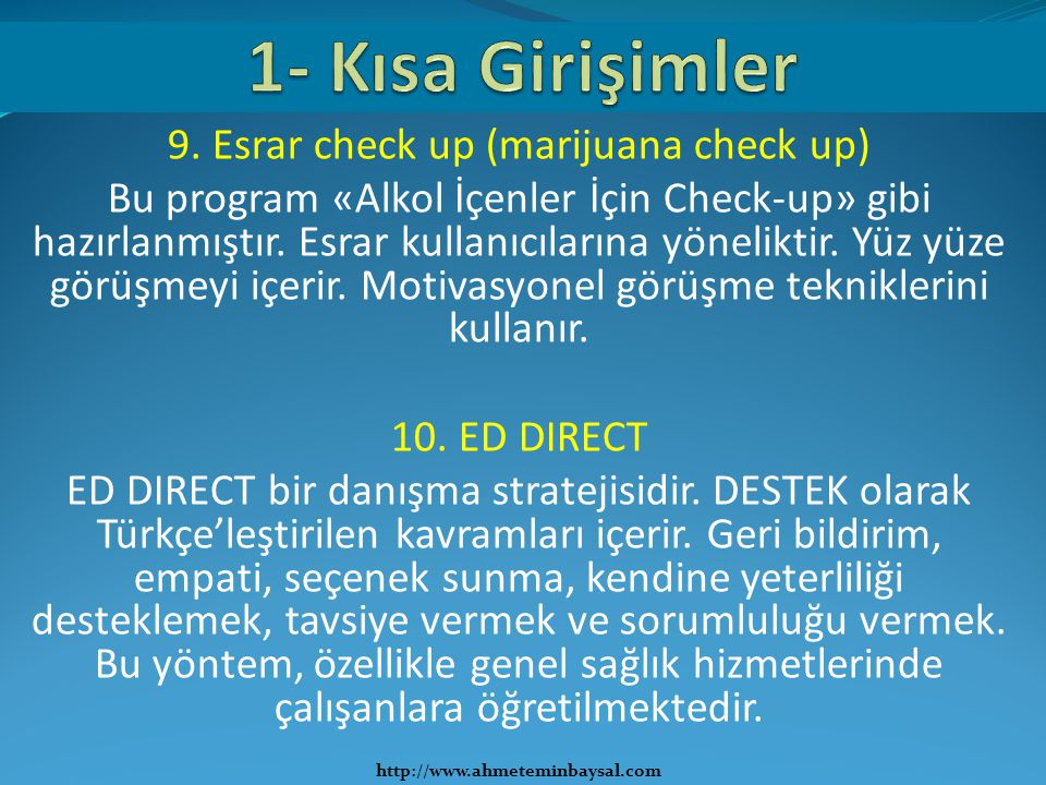 9. Esrar check up (marijuana check up)