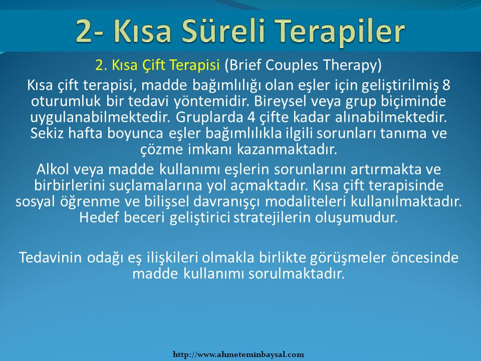 2- Kısa Süreli Terapiler