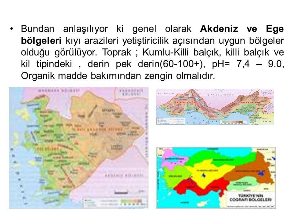 Bundan anlaşılıyor ki genel olarak Akdeniz ve Ege bölgeleri kıyı arazileri yetiştiricilik açısından uygun bölgeler olduğu görülüyor.
