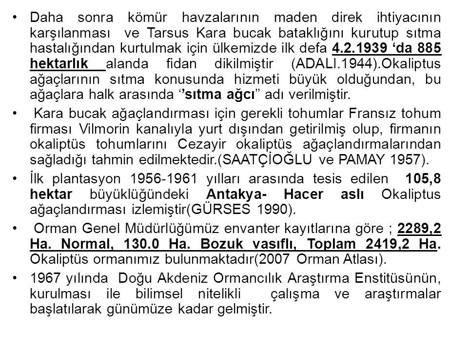 Daha sonra kömür havzalarının maden direk ihtiyacının karşılanması ve Tarsus Kara bucak bataklığını kurutup sıtma hastalığından kurtulmak için ülkemizde ilk defa 4.2.1939 'da 885 hektarlık alanda fidan dikilmiştir (ADALI.1944).Okaliptus ağaçlarının sıtma konusunda hizmeti büyük olduğundan, bu ağaçlara halk arasında ''sıtma ağcı'' adı verilmiştir.