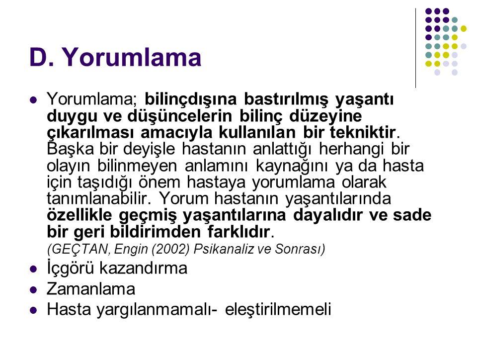 D. Yorumlama