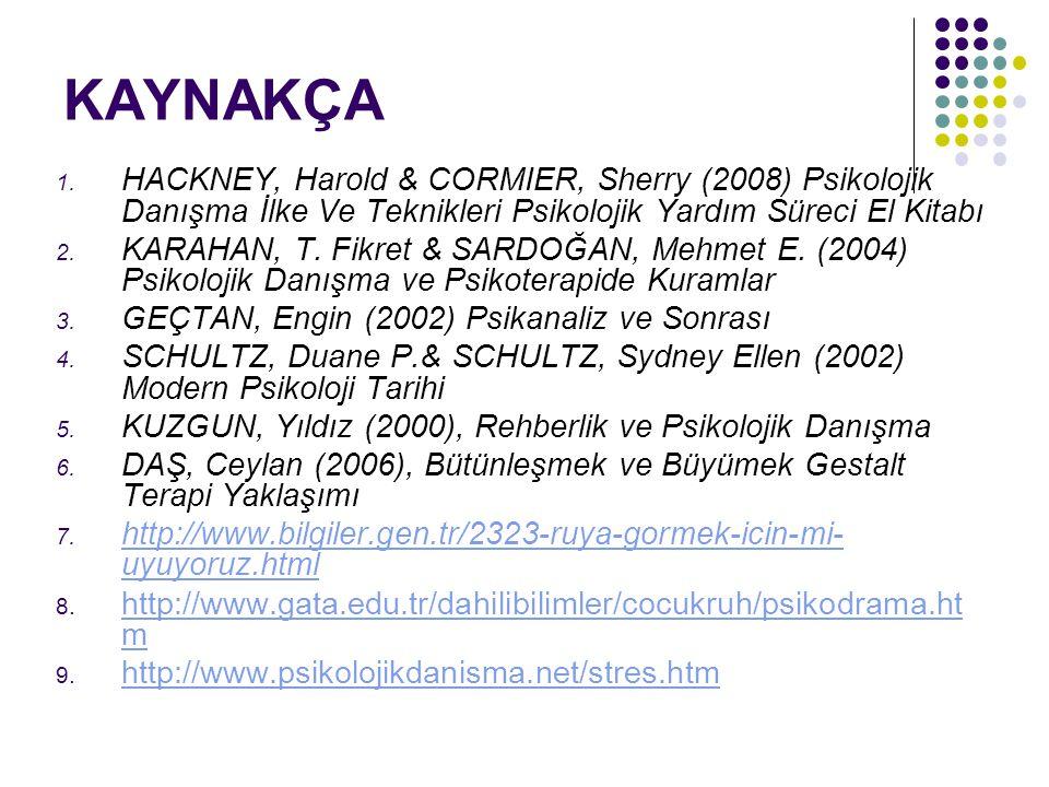 KAYNAKÇA HACKNEY, Harold & CORMIER, Sherry (2008) Psikolojik Danışma İlke Ve Teknikleri Psikolojik Yardım Süreci El Kitabı.
