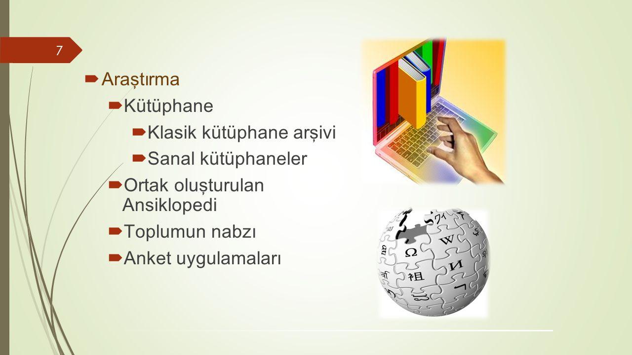 Araştırma Kütüphane. Klasik kütüphane arşivi. Sanal kütüphaneler. Ortak oluşturulan Ansiklopedi.
