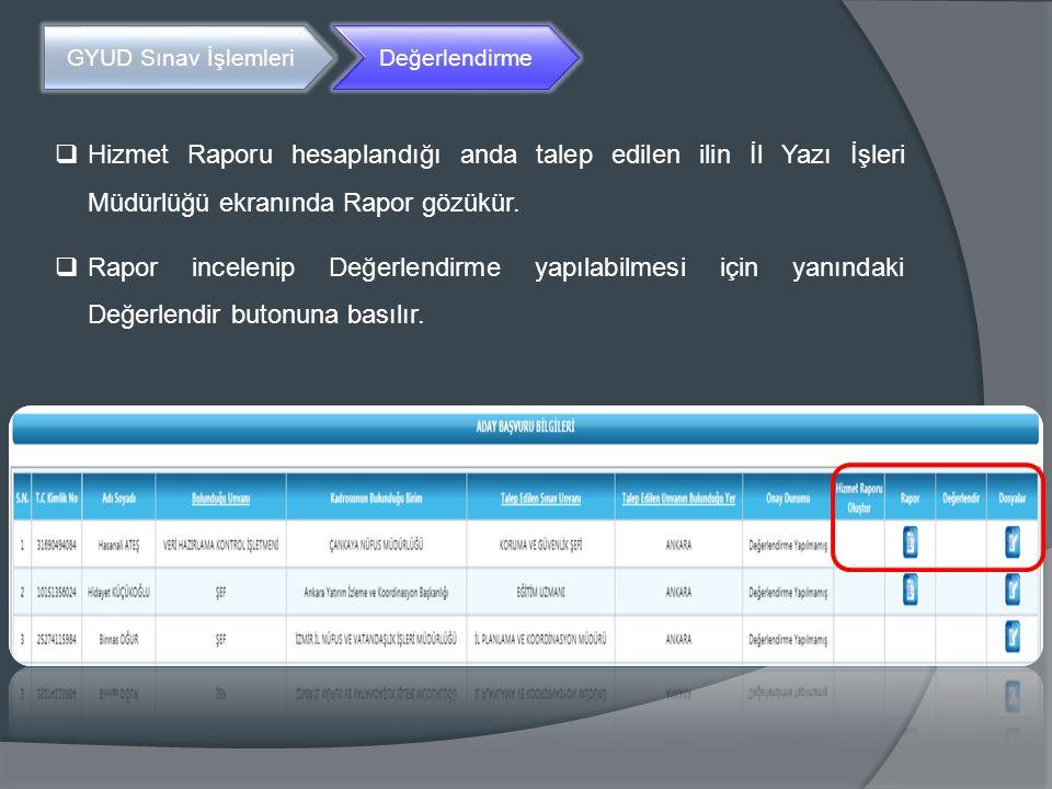 GYUD Sınav İşlemleri Değerlendirme. Hizmet Raporu hesaplandığı anda talep edilen ilin İl Yazı İşleri Müdürlüğü ekranında Rapor gözükür.