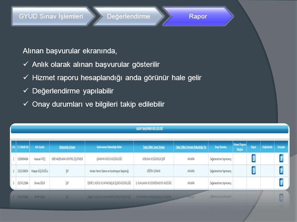 Alınan başvurular ekranında, Anlık olarak alınan başvurular gösterilir