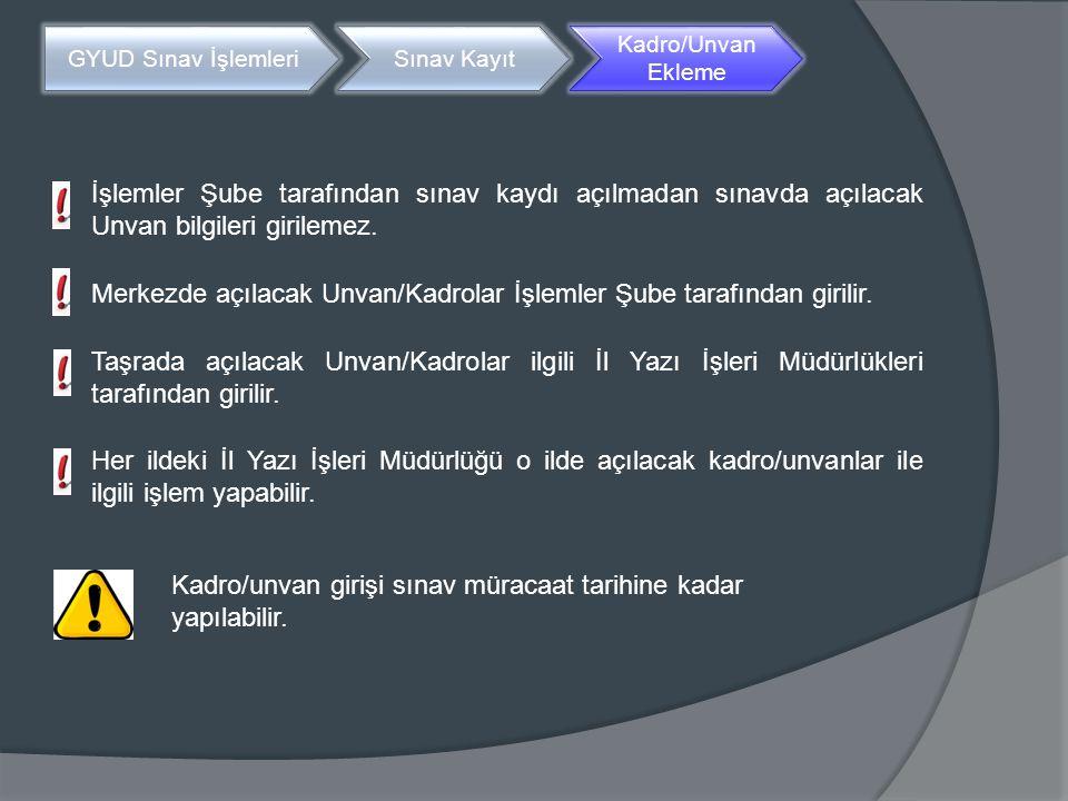 Merkezde açılacak Unvan/Kadrolar İşlemler Şube tarafından girilir.