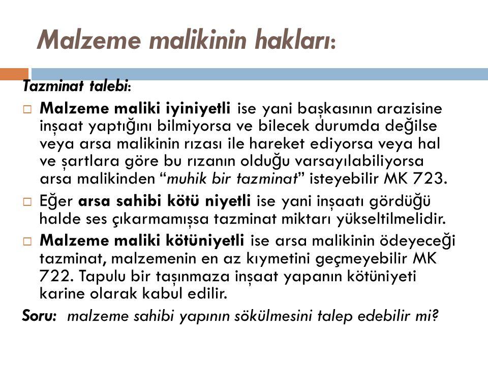 Malzeme malikinin hakları: