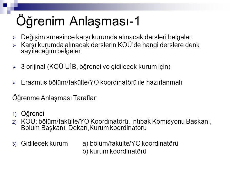 Öğrenim Anlaşması-1 Değişim süresince karşı kurumda alınacak dersleri belgeler.