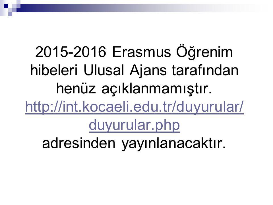 2015-2016 Erasmus Öğrenim hibeleri Ulusal Ajans tarafından henüz açıklanmamıştır.