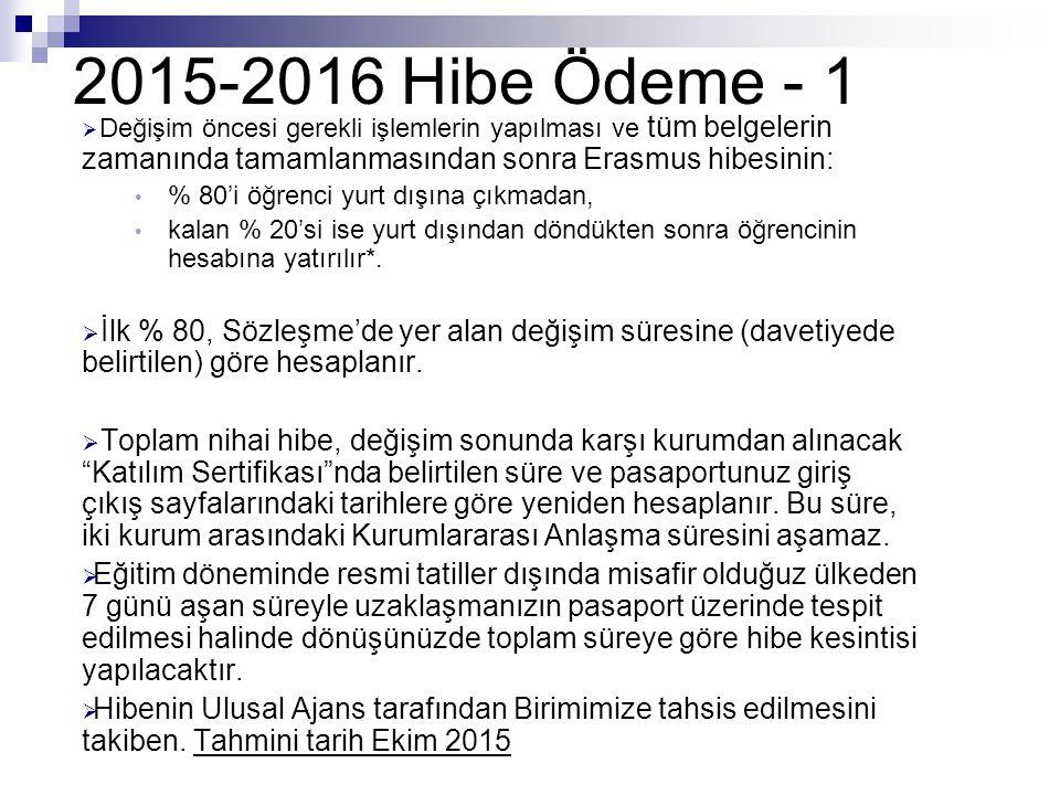 2015-2016 Hibe Ödeme - 1 Değişim öncesi gerekli işlemlerin yapılması ve tüm belgelerin zamanında tamamlanmasından sonra Erasmus hibesinin: