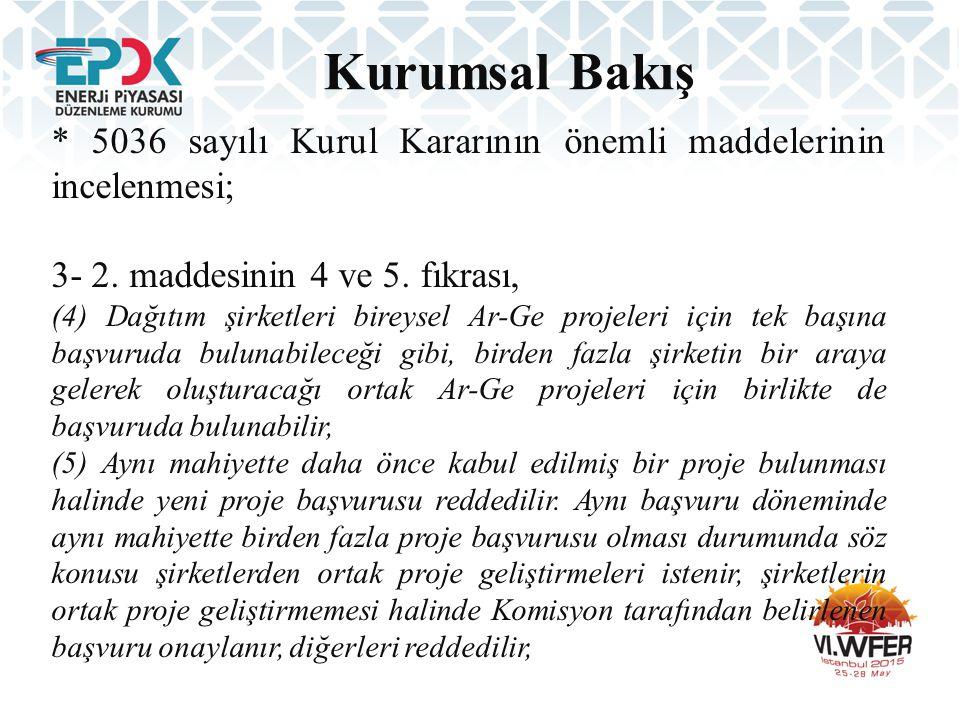 Kurumsal Bakış * 5036 sayılı Kurul Kararının önemli maddelerinin incelenmesi; 3- 2. maddesinin 4 ve 5. fıkrası,