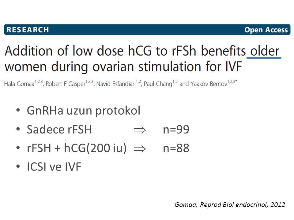 GnRHa uzun protokol Sadece rFSH  n=99 rFSH + hCG(200 iu)  n=88