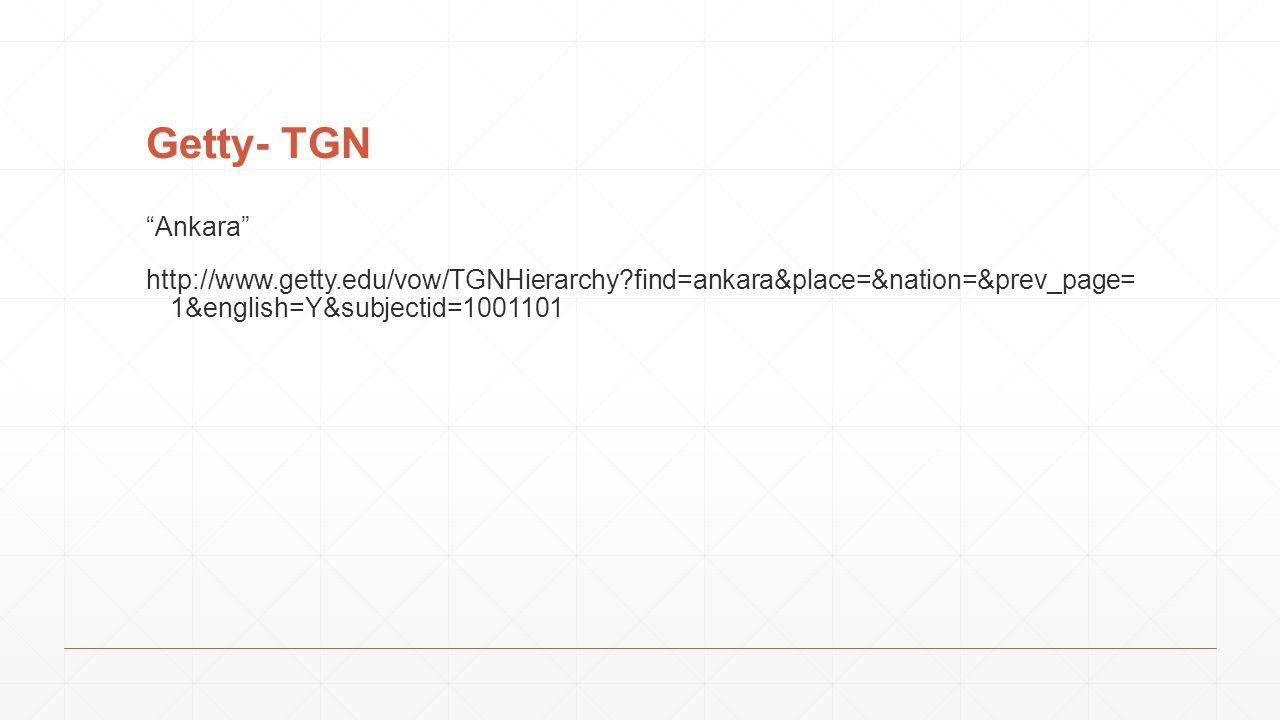 Getty- TGN Ankara http://www.getty.edu/vow/TGNHierarchy find=ankara&place=&nation=&prev_page= 1&english=Y&subjectid=1001101