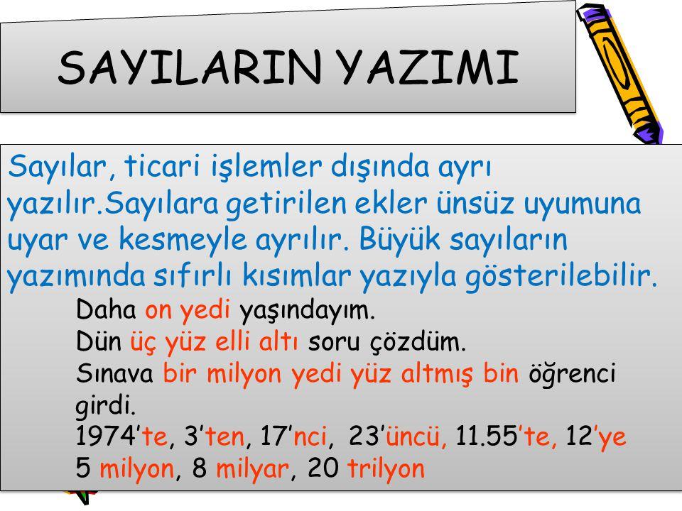 SAYILARIN YAZIMI