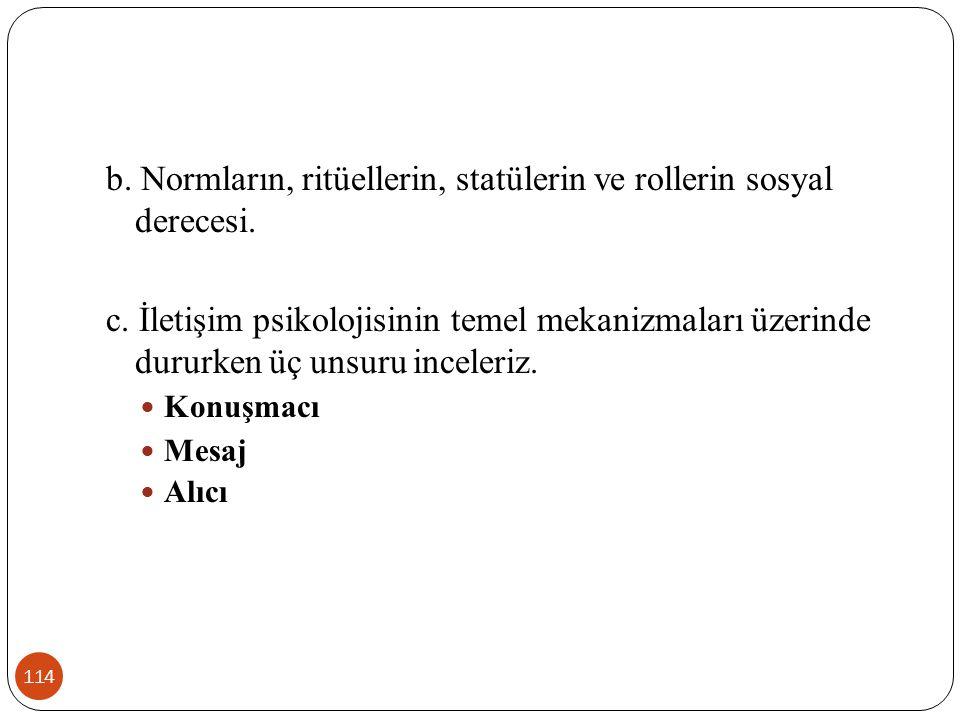 b. Normların, ritüellerin, statülerin ve rollerin sosyal derecesi.