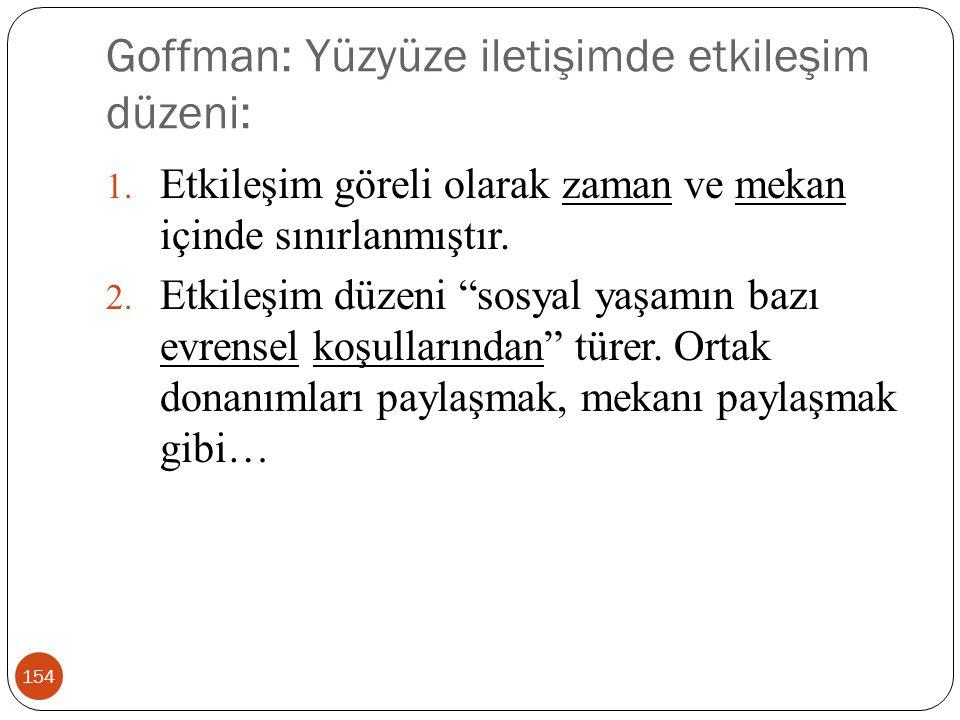 Goffman: Yüzyüze iletişimde etkileşim düzeni: