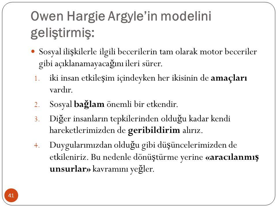 Owen Hargie Argyle'in modelini geliştirmiş: