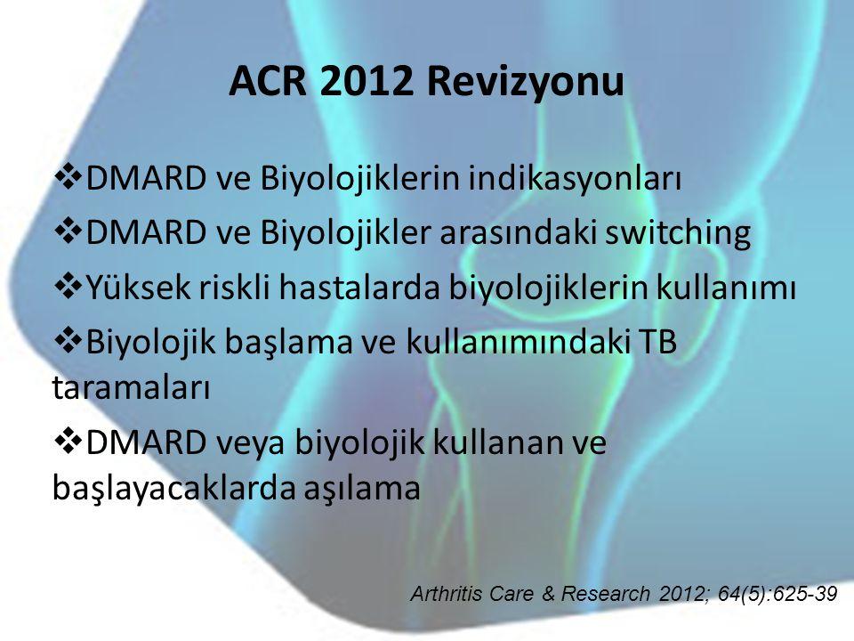 ACR 2012 Revizyonu DMARD ve Biyolojiklerin indikasyonları