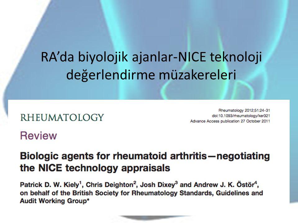 RA'da biyolojik ajanlar-NICE teknoloji değerlendirme müzakereleri