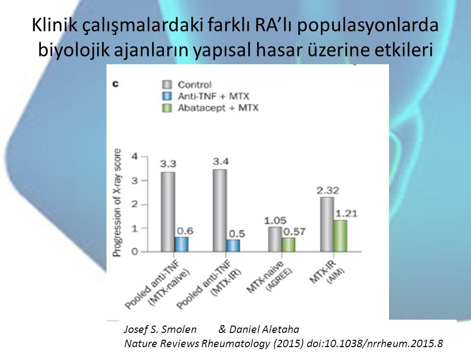 Klinik çalışmalardaki farklı RA'lı populasyonlarda biyolojik ajanların yapısal hasar üzerine etkileri