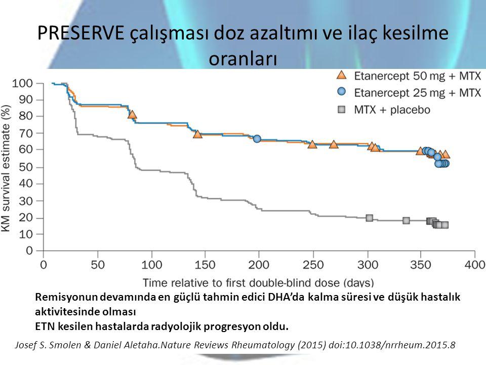 PRESERVE çalışması doz azaltımı ve ilaç kesilme oranları