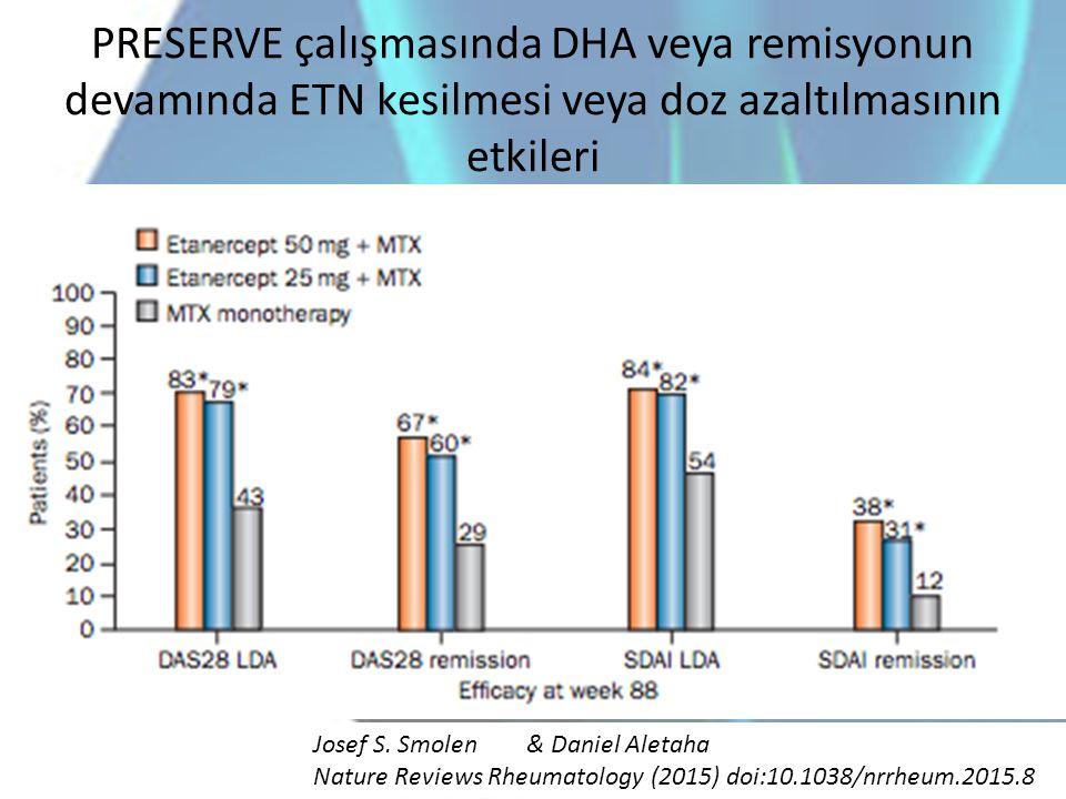 PRESERVE çalışmasında DHA veya remisyonun devamında ETN kesilmesi veya doz azaltılmasının etkileri