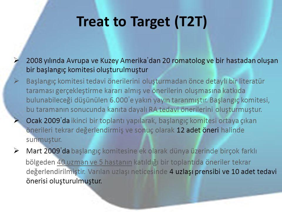 Treat to Target (T2T) 2008 yılında Avrupa ve Kuzey Amerika'dan 20 romatolog ve bir hastadan oluşan bir başlangıç komitesi oluşturulmuştur.