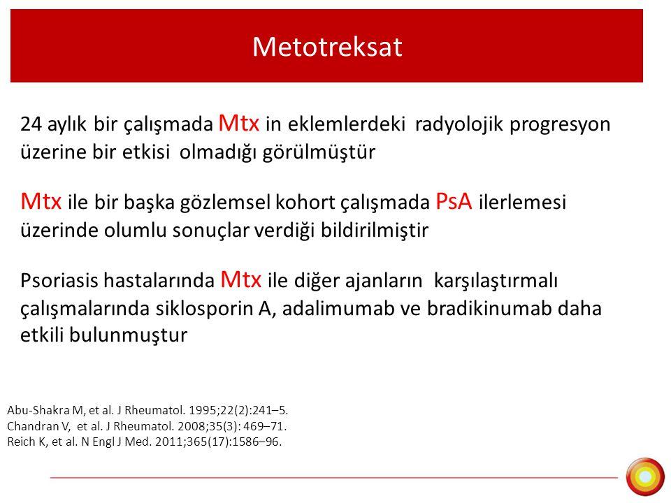 Metotreksat 24 aylık bir çalışmada Mtx in eklemlerdeki radyolojik progresyon üzerine bir etkisi olmadığı görülmüştür.