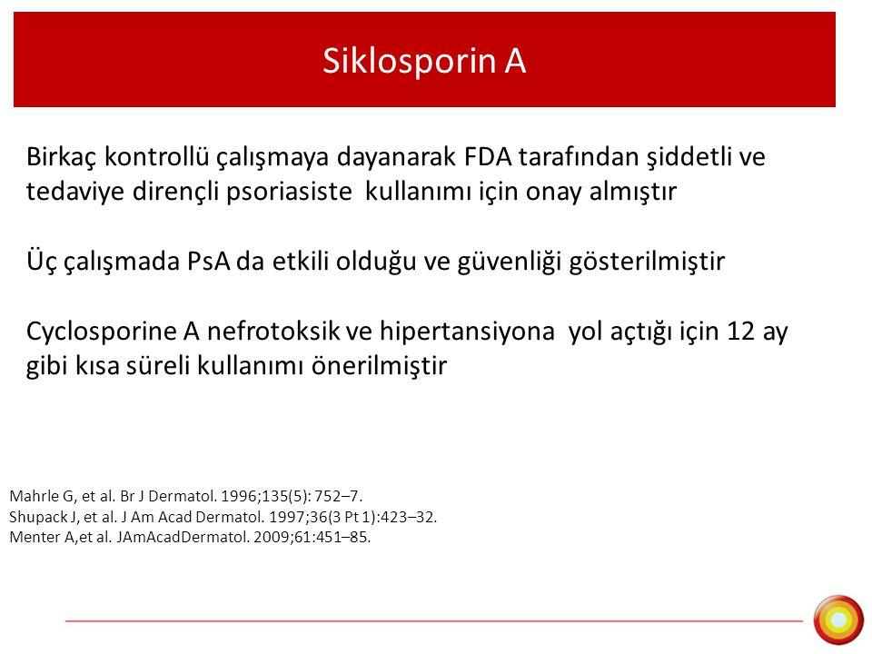 Siklosporin A Birkaç kontrollü çalışmaya dayanarak FDA tarafından şiddetli ve tedaviye dirençli psoriasiste kullanımı için onay almıştır.