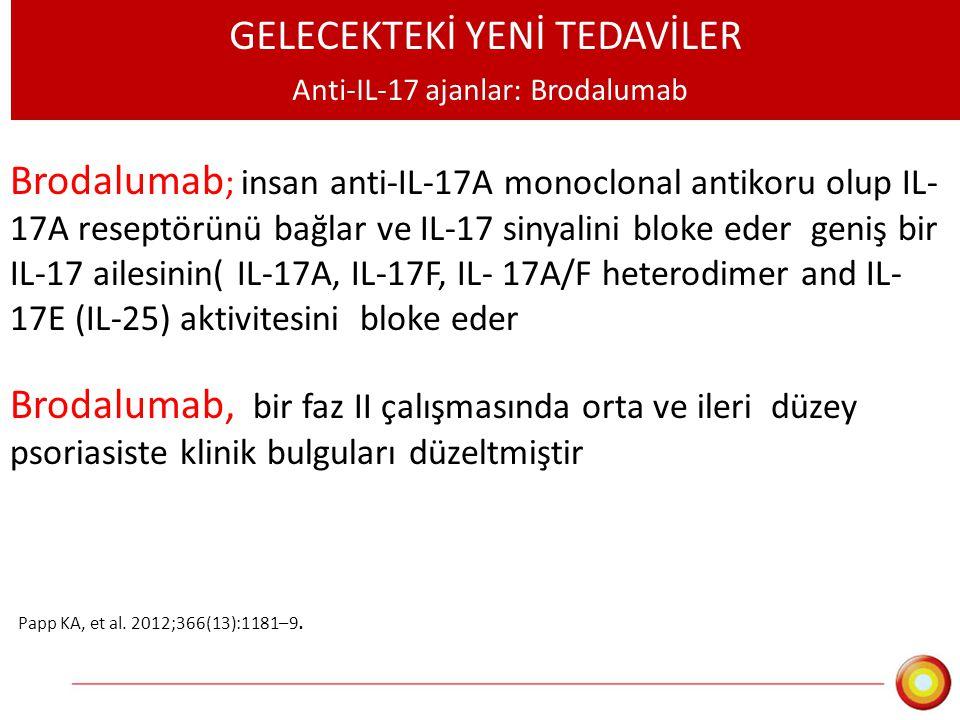 GELECEKTEKİ YENİ TEDAVİLER Anti-IL-17 ajanlar: Brodalumab