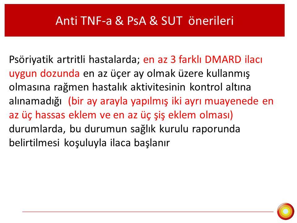 Anti TNF-a & PsA & SUT önerileri