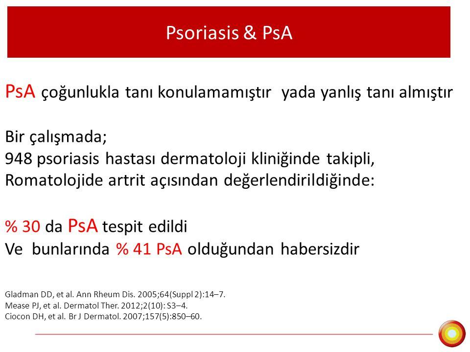 PsA çoğunlukla tanı konulamamıştır yada yanlış tanı almıştır