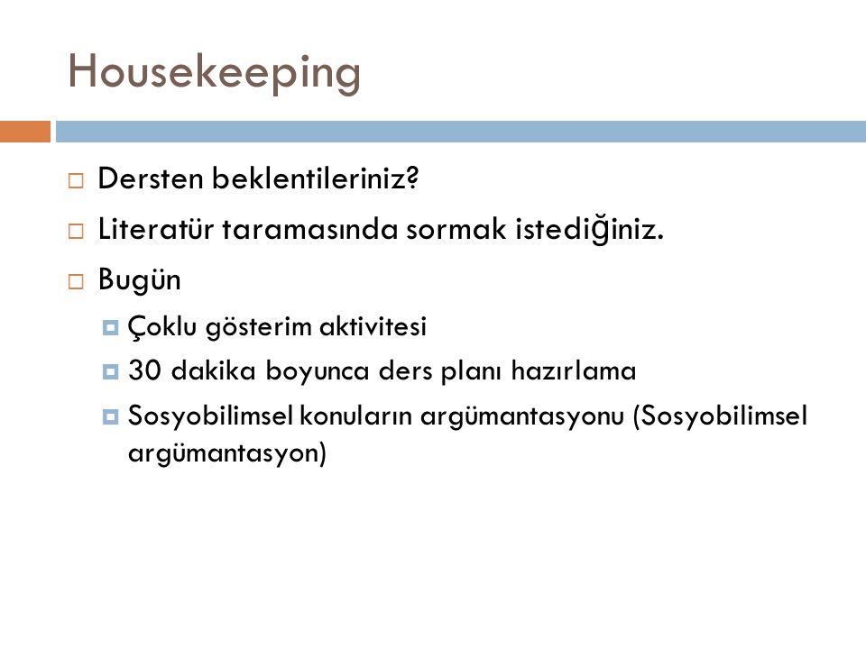 Housekeeping Dersten beklentileriniz
