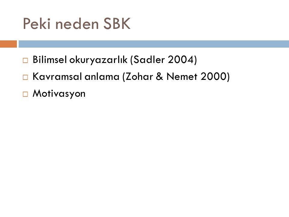 Peki neden SBK Bilimsel okuryazarlık (Sadler 2004)