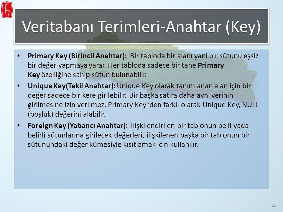 Veritabanı Terimleri-Anahtar (Key)
