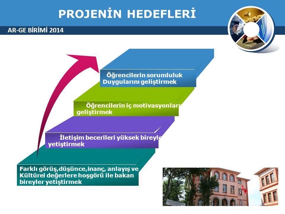 PROJENİN HEDEFLERİ AR-GE BİRİMİ 2014 Öğrencilerin sorumluluk