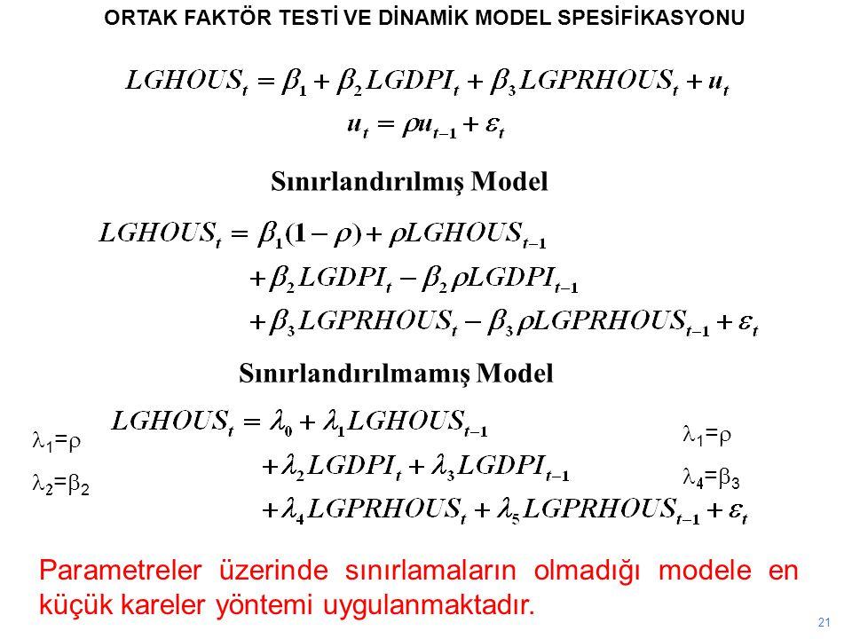 Sınırlandırılmış Model Sınırlandırılmamış Model
